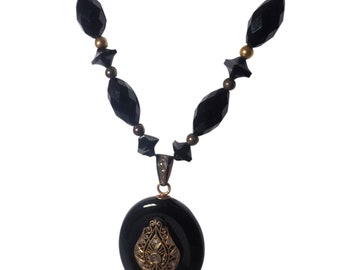 Victorian 14k Yellow Gold Onyx and Diamond Necklace/Locket