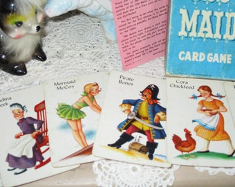 Vintage Childrens Playing Cards-Old Maid-Complete