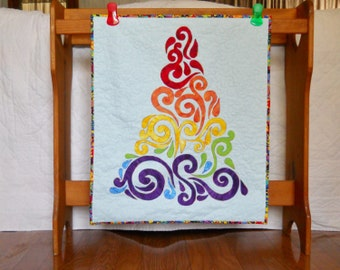 Quilted Christmas Tree Wall Hanging Rainbow Colors