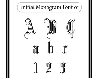 Monogram font svg cut file, alphabet svg files, font for cricut, dxf files for sihouette 01