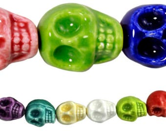 711 - Ceramic, 14mm, Skull, Multi-Color - Package of 6