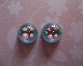Glass Cameos - 10mm Round Cabochons - Pink Flower on Blue - Handmade Lampwork Glass Inlay - Made in Czech Republic - Qty 2 *NEW ITEM*
