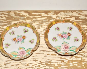 "Floral trinket dish,Meiko china,occupied Japan,raised rose,small round dishes,set of 2,gold trim,jewelry,hand painted,4.25"" round,porcelain"