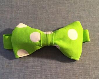 Lime Green/White Polka Dot Bow Tie Photography Prop, Dressy, Wedding, Smash Cake