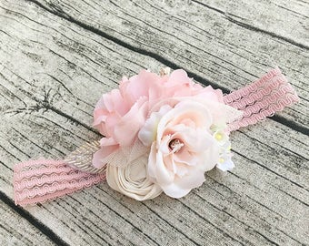 Blush pink baby headband, Girls couture headband, baby headbands, baby girl headband,flower girl headband, newborn flower lace headband,