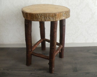 READY TO SHIP! Stool made of wood, 100 % handcrafted, natural ooak