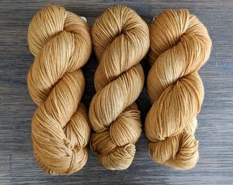 Hand Dyed Yarn - 'Bronze Age ' - Superwash Merino Nylon Fingering Sock Yarn  brown bronze 420 yards
