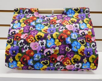 737 Pansies Casserole Carrier with red, yellow, blue, purple, white  and pink flowers; fits many sizes and shapes of dishes; easy to carry