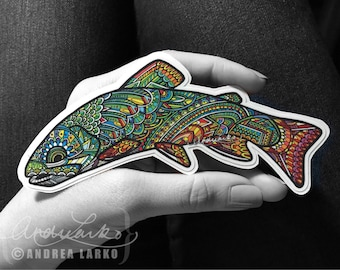 Native Brook Trout  Zentangle Laminated 3M Vinyl Decal