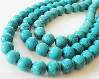 "Turquoise Round Beads - Blue Howlite Gemstone - Smooth Round Ball - Center Drilled - 10mm - 16"" Strand - DIY Southwestern - Bulk Mala Beads"