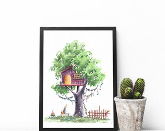 Treehouse Series 26 Watercolor Art Print - Digital Download