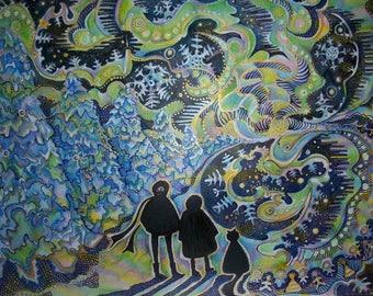 Aurora borealis, winter painting, Aurora borealis painting, snowflakes, painted snow, Northern Lights, Northern Lights painting