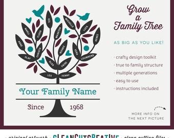 SVG Family Tree svg grandparents svg wedding anniversary svg diy genealogy offspring - Cricut & Silhouette Studio - commercial use cutfiles