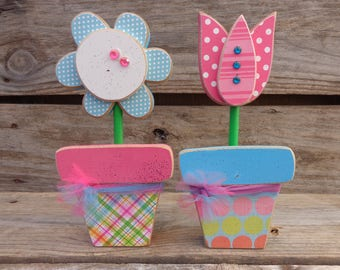 Spring Decor-Summer Decor-Mothers Day Gifts- Mothers Day- Flower Pot Decor- Set of 2 flower pots