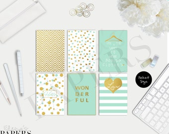"Printable POCKET dividers ""Gold & Mint style"""
