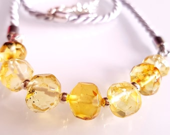Faceted Button Shape Beads Baltic Amber Necklace Real Baltic Amber
