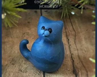 Blue Scrappy Cat A, Miniature Cat, Polymer Clay Cat, Cute Kitty, Kitty, Cat Sculpture, Cat Figurine