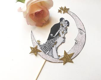 Wedding Cake Topper -Moon -Blush and Gold - Moon- Bride and Groom -Art Deco