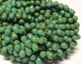50- Czech Glass 4x6mm Top-drilled Teardrop Beads - Bohemian Drops / Boho Spacer Beads / Rustic Accent Beads - Opaque Turquoise Green Picasso
