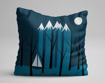 Blue Throw Pillow, Couch Pillow, Throw Cushion, Decorative Pillow, Artisan Pillow, Nursery Throw Pillow, Living Room Decor, Art Pillow