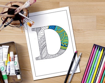 Alphabet Coloring Pages Download : Adult coloring book download zentangle alphabet letter
