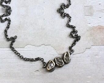 Herkimer Diamond Necklace - Quartz Bezel Necklace - Oxidized Sterling Silver Necklace - Rollo Chain Necklace - Raw Crystal Necklace