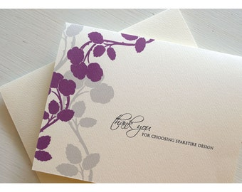 Apple Blossom Silhouette Personalized Stationery - Silhouette Branch with Blooms Note Cards - Spring Branch Personalized Note Card