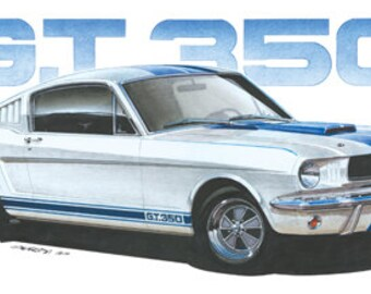 1965 Ford Shelby Mustang GT350 12x24 inch Art Print by Jim Gerdom