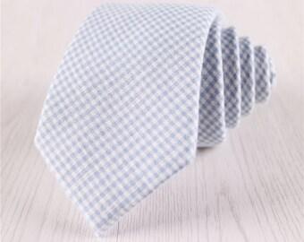 Baby Blue Gingham Cotton Neckties, Men's Fine Plaid Ties for Wedding, Vintage Self Tie Ties with Standard 3 Inch/7.5 CM Width-NT.158S