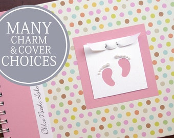Girl Baby Book   Baby Memory Book   Baby Album Photo Book   Personalized Baby's First Year Book   Pastel Polka Dots + Pink with Footprints