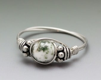 Tree Agate Bali Sterling Silver Wire Wrapped Bead Ring - Made to Order, Ships Fast!