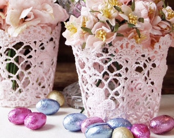 Easter lace basket. Wedding lace basket. Lace holder. Lace flower pot. Lace holdall for storage. Florist container.