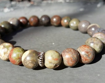 Rhyolite Power Bracelet, Healing Crystals, Brick Red, Green, Colorful,  Natural,  Earth Goddess
