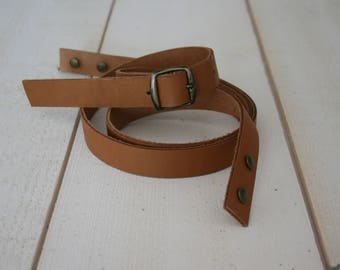 CAMEL colored leather adjustable shoulder strap