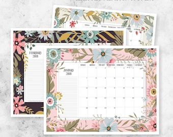Instant Download 2018 Printable Monthly Planner Calendar | Weekly Planner + To Do List | Planning Calendar + Notes | Wall Calendar