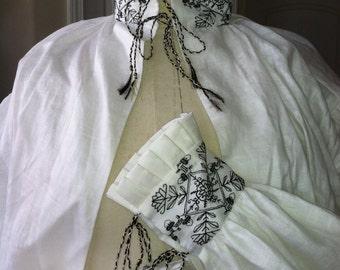 100% ITALIAN LINEN, Women's Shirt, Chemise, Smock w/ BLACKWORK, Renaissance , Tudor, Elizabethan  - (Made to Order)