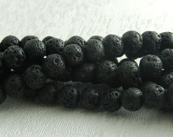 10 pearls of natural volcanic lava rock Black 8mm, hole: 1 m