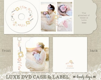 Luxe DVD Cd Case and Disc Label template Photography Photographers INSTANT DOWNLOAD