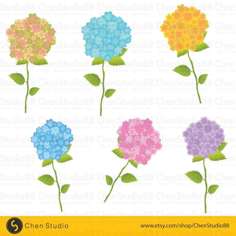 hydrangea flower vector digital clipart instant download rh etsy com