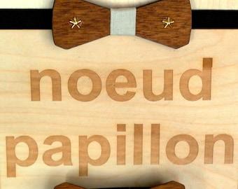 wooden bow golden stars (papillon)