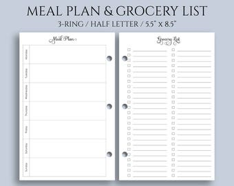 """Weekly Meal Planning and Grocery Shopping List Planner Inserts ~ Half Letter / 5.5"""" x 8.5"""" / Mini 3-Ring (3RM-MPGL)"""