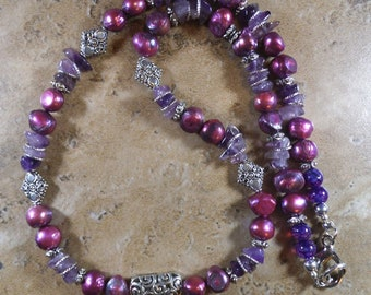 Purple and silver necklace with amethyst and iridescent stones - MN92