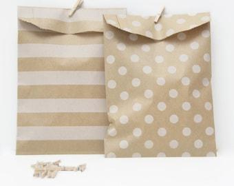 "12 Medium White Polka Dots & Horizontal Stripes Kraft Paper Bags . 5"" x 7.5"" for Favors, Candy, Gift Wrap, Packaging, Envelopes"