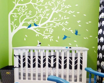 """White Tree Wall Decal Nursery Wall Decoration Tree Wall decals Corner decal vinyl Mural sticker wall art Large: approx 75"""" x 51"""" - KC051"""