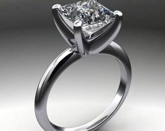 kenya ring – 2.5 carat princess cut NEO moissanite engagement ring, square moissanite ring