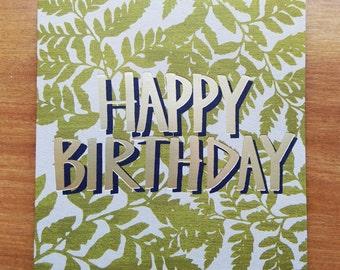 Happy Birthday Foil Blocked Greetings Card, Fern Green