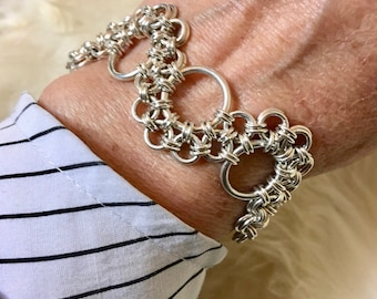 Lacey ~ Handwoven Chain Maille Bracelet ~ Solid Argentium Silver, 14K Gold Filled, Birthday Anniversary Gift