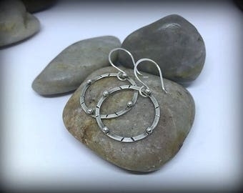 Organic Sterling Silver Circle Earrings