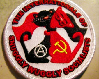 """THE INTERNATIONALE oF SNuGGLY WuGGLY SOCIALISTS embroidered iron-on patch 3"""" inches"""