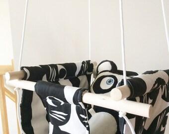 Choisissez votre tissus - Balançoire en Tissus et Bois pour Enfant- Balançoire d'enfant intérieure